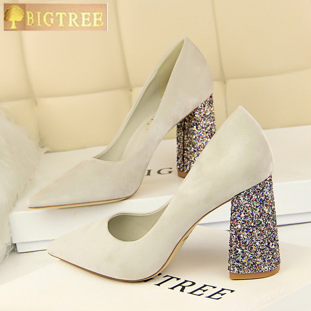 Fashion Bling Square Heels Women's Shoes 2018 New Solid Flock Shallow Women Pumps Pointed Toe High Heels Shoes Sexy Party Shoes