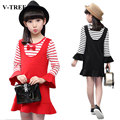 V-TREE Spring Autumn Striped Girls Dress Cotton Teenagers Dress Princess Dresses For Girls Children Costumes