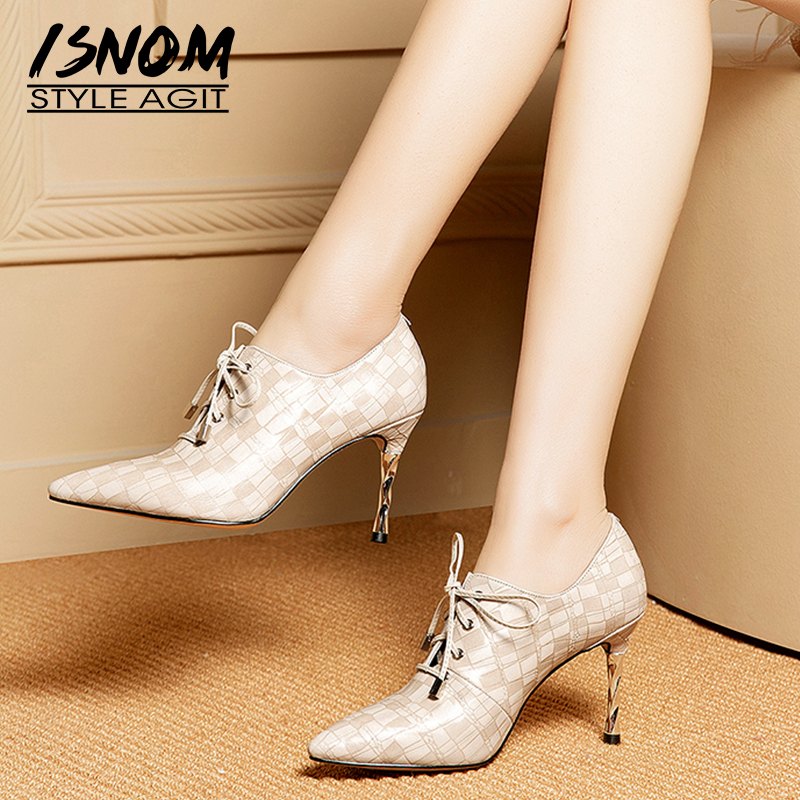 ISNOM Emboss High Heels Pumps Women Lace Up Pointed Toe Footwear Fashion Cow Leather Shoes Female