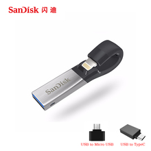 SDIX30N SanDisk USB 3.0 Flash Drive 256 GB 128 GB 64 GB 32 GB 16 GB Pen Drives de doble interfaz de Impulsión de la Pluma para el iphone iPad iPod de APPLE