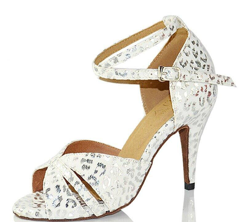 New Ladies Girls White Leopard Print Salsa Ballroom Dance Shoes Latin Dance Shoes ALL Size