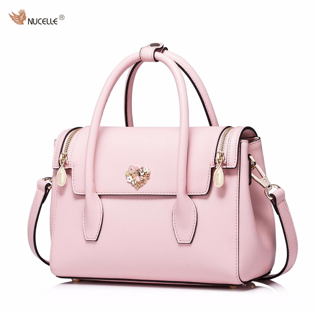 NUCELLE Brand New Retro Simple Design Heart Love Cow Leather Women Ladies Girls Handbag Shoulder Crossbody Bags