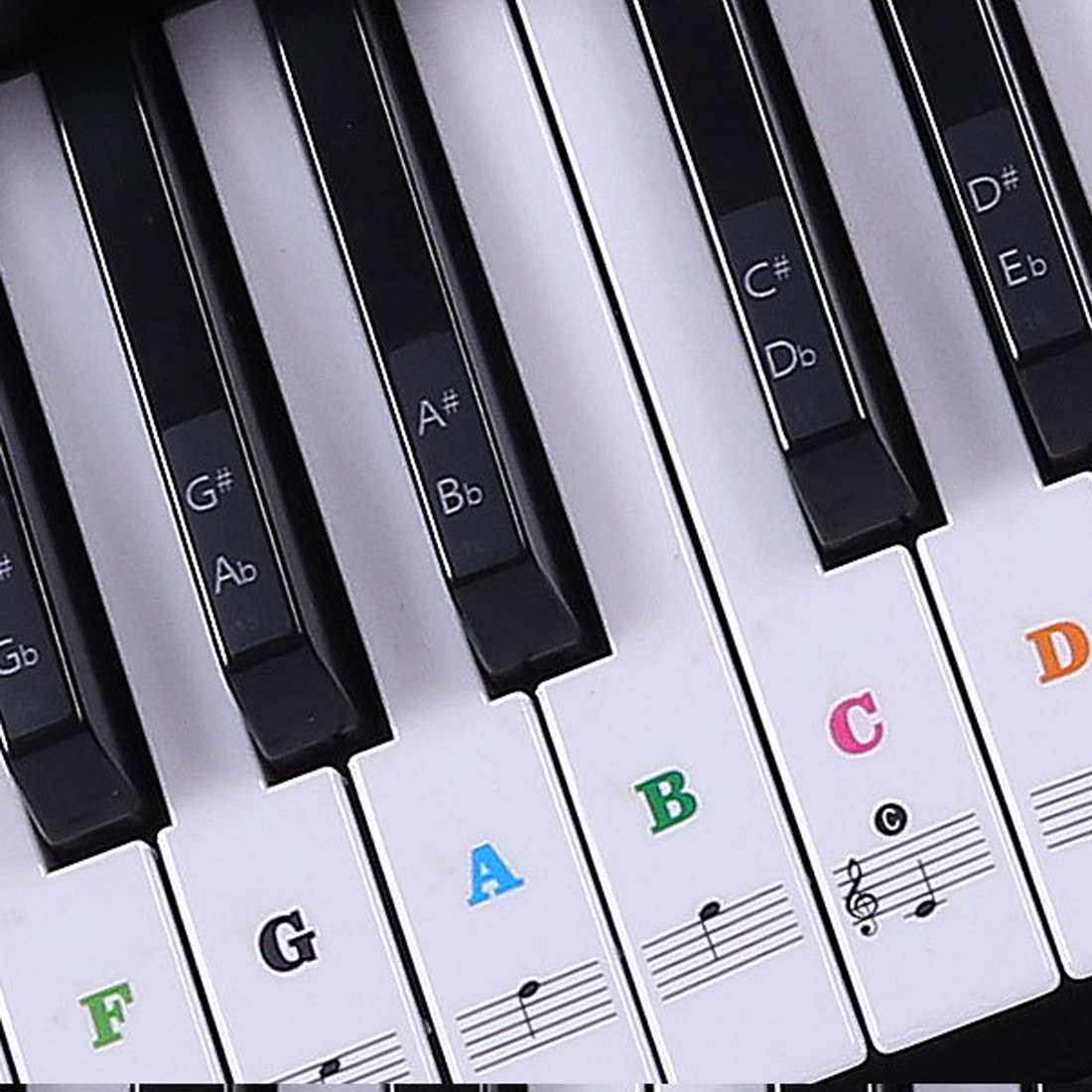 pro transparent piano keyboard sticker 88 61 54 49 key electronic keyboard key piano stave note. Black Bedroom Furniture Sets. Home Design Ideas