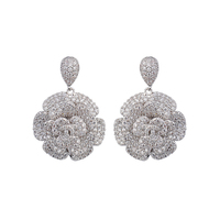 High Quality Flower Shape White Gold Cubic Zirconia Diamond Silver Stud Earrings For Women Accessories GLE5997