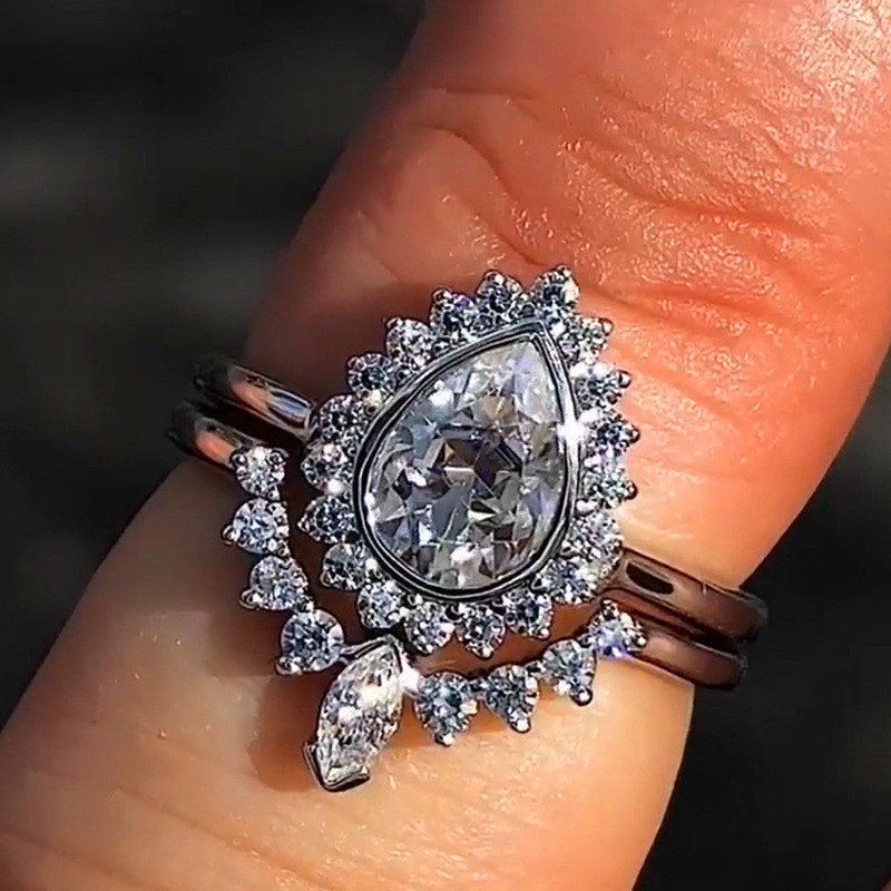 Engagement Rings Wedding-Ring-Set Bridal-Sets 925-Silver Vintage Fashion Women Crystal-Zircon