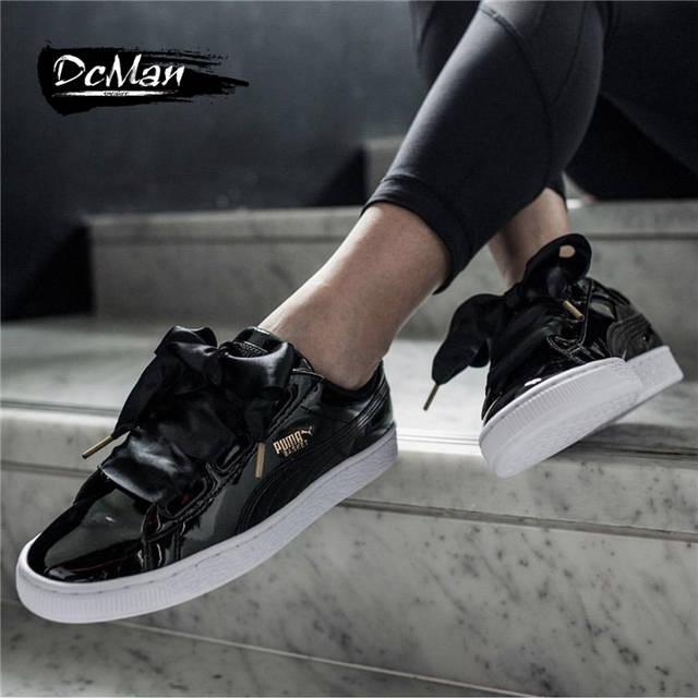 252a4d39ec0059 Online Shop Original PUMA Basket Heart Patent Women s Sneakers Suede Satin  Badminton Shoes size36-40