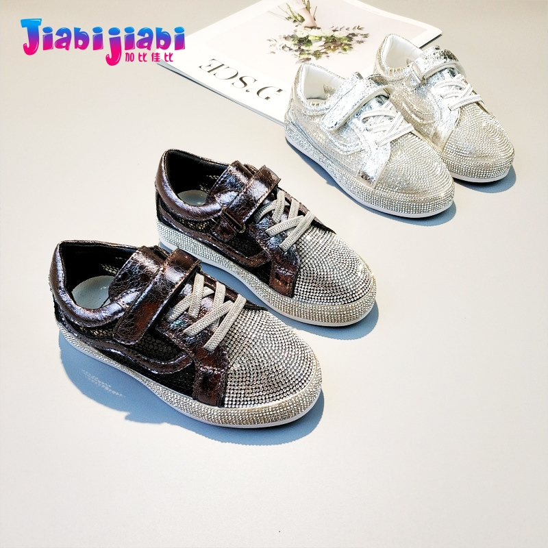 3-12T New Autumn Children Student Rhinestone Boys Sport Shoes Flats Girls Run Casual Shoes Toddler Kids Leather Sneaker 6131 uovo autumn new boys shoes girls shoes children s casual sport shoes breathable comfort sneaker for kids high quality shoes