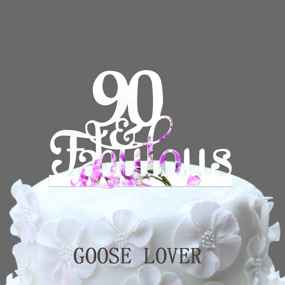 90th And Fabulous Cake Topper Birthday Party Decoration Acrylic Anniversary Gifts90 Years Old