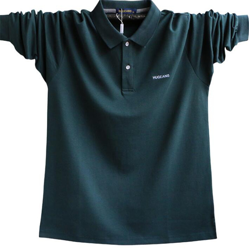 2019 New Fashion Plus Size Mens Poloshirt Men Cotton   Polos   Shirt Men Long Sleeve Loose Poloshirts Male A5308