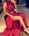 Brillo rojo con cuentas vestidos de baile largo de dos piezas de vestido de fiesta con hendidura peach pageant vestido