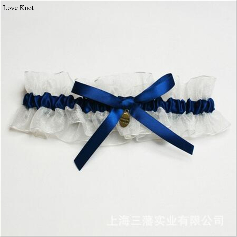 უფასო ტრანსპორტირება Blue and White Satin Wedding Garter With Bowknot / 2018 New Arrival / Bridal Garter Casamento Wedding Wedding Decoration