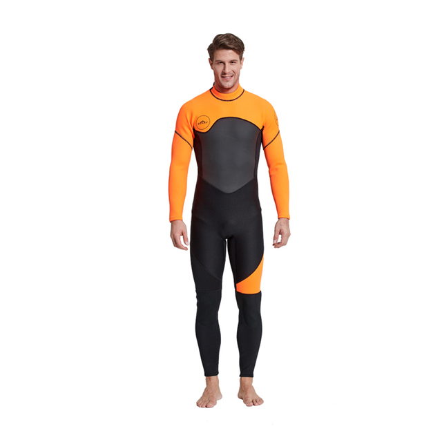 Men's Full Body Wetsuit, 3mm Men Neoprene Long Sleeves Dive Suit – Perfect For Swimming/Scuba Diving/Snorkeling/Surfing Orange
