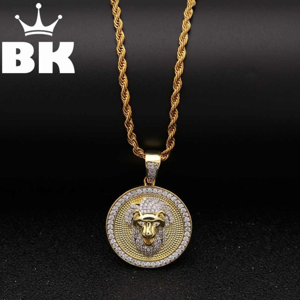 5dde364a0bd87 THE HIPHOP KING Custom Lion CZ Pendant Necklace Hip Hop Full Iced ...