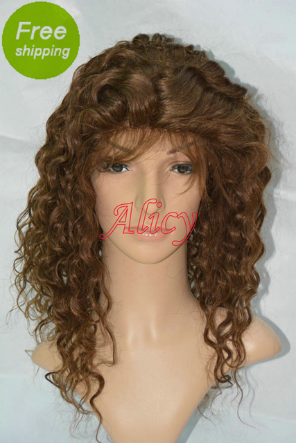 Fast Shipping Deep Curly Indian Human Hair Bleached Knots Natural Hairline Baby Hair Lace Front Wig 2# For African Americans