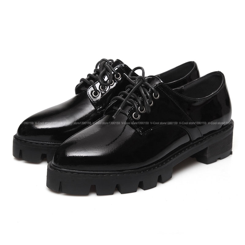 df706bf658 Plus Size 40 Women Oxford Shoes 2015 Patent Leather Flats Lace Up Vintage Oxfords  Woman Flat Shoes Autumn Footwear Drop Shipping-in Women's Flats from Shoes  ...