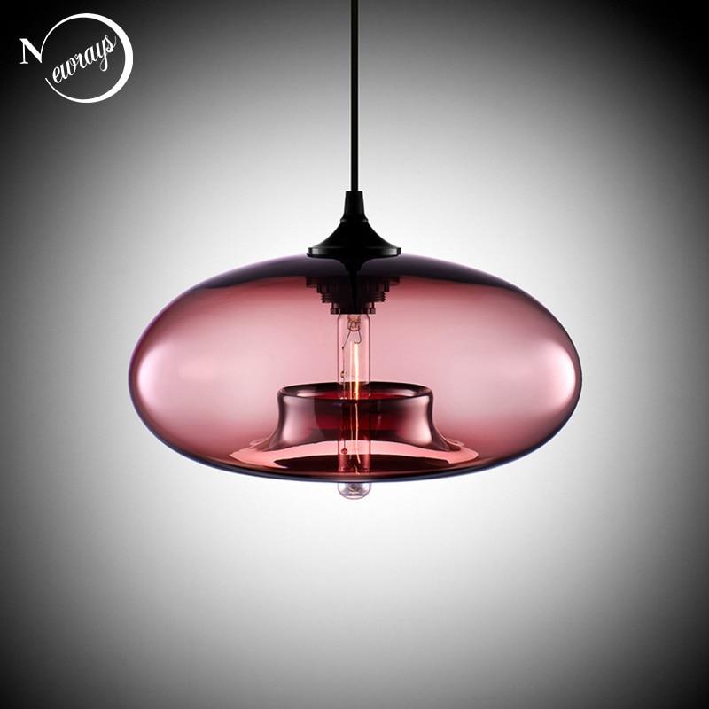 Nordic Modern hanging loft 7 Color Glass lustre Pendant Lamp industrial decor Lights Fixtures E27/E26 for Kitchen Restaurant 1
