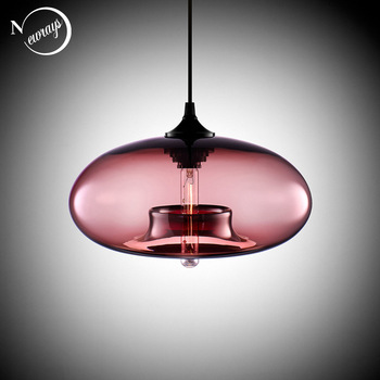 Nordic Modern hanging loft 7 Color Glass lustre Pendant Lamp industrial decor Lights Fixtures E27/E26 for Kitchen Restaurant 1
