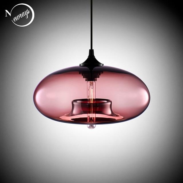 北欧モダンぶら下げロフト7色ガラス光沢ペンダントランプ工業用装飾ライト器具E27/E26キッチンレストラン