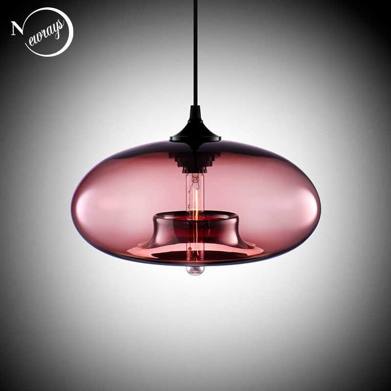Скандинавский современный подвесной Лофт 7 цветов стеклянная люстра, висячая лампа промышленного декора светильники E27/E26 для кухонного ресторана