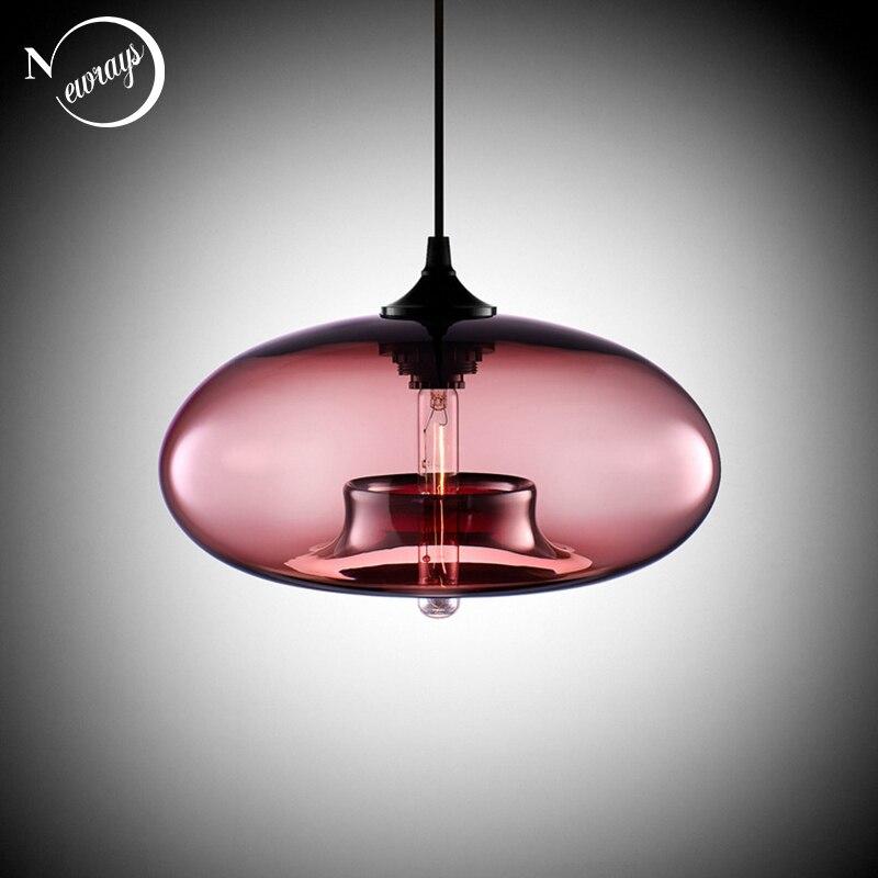 Lustre en verre de couleur, loft à suspendre nordique moderne suspension en verre de 7 couleurs luminaires de décoration industrielle E27/E26 pour le Restaurant de cuisine