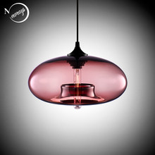 Nordic Modern hanging loft 7 Color Glass lustre Pendant Lamp industrial decor Lights Fixtures e27/e26 for Kitchen Restaurant(China)