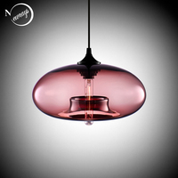 6 Color Industrial Colourful Glass Ball Led Pendant Lamps Modern E27 E26 Led Lights Cord For