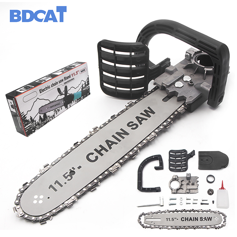 BDCAT Upgrade Electric Saw Parts 11.5 Inch M10/M14/M16 Chainsaw Bracket Changed 100 125 150 Angle Grinder Into Chain Saw