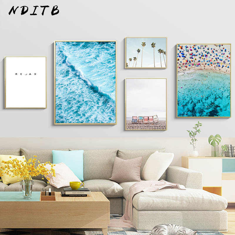 Ocean Coastal Beach Canvas Poster Nordic Art Seascape Decorative Print Wall Painting Picture Scandinavian Living Room Decoration