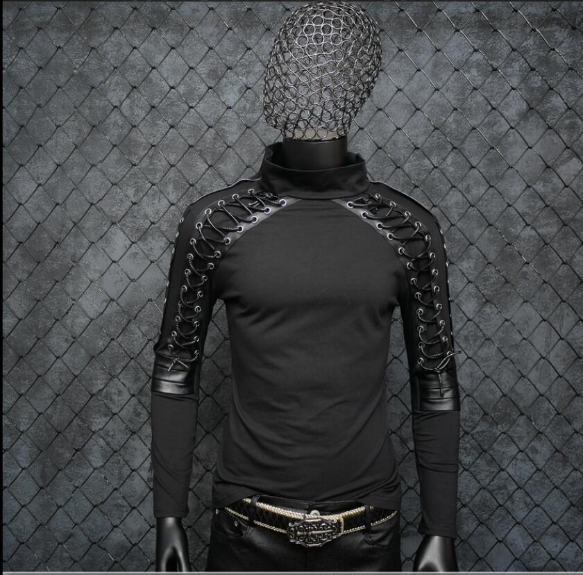Disfraces de Punk rock para hombres cantante delgada Camiseta de manga larga diseño vendaje estiramiento hip hop club nocturno jóvenes tide ropa de cantante
