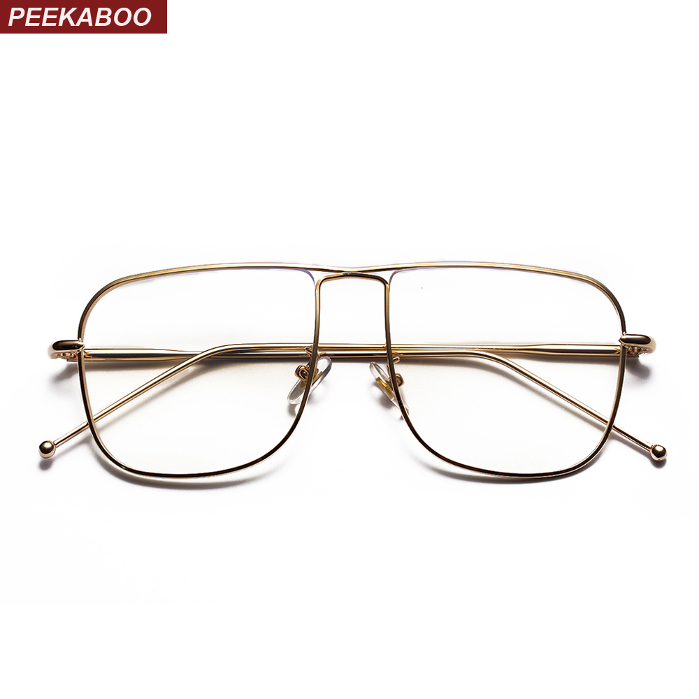 012e5d11b0e Peekaboo vintage square eyeglasses frames men gold 2018 black silver metal  glasses frame women fashion high quality