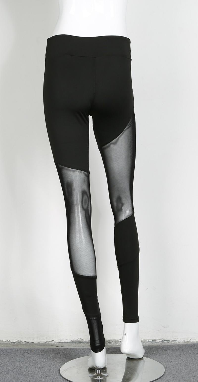 Leggings noir sexy, pantalon de yoga moulant patchwork à mailles, collant de sport tendance, gym, fitness, pilâtes, running, sur un mannequin, vue de dos