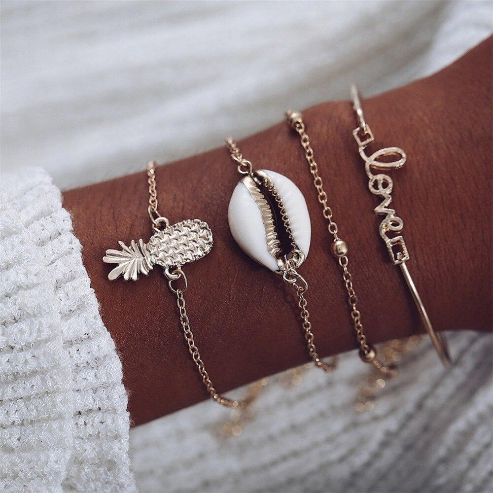 Bohemian Love Cowrie Shell Pineapple Bracelets for Women 4PCS/Set Ocean Beach Chain Bracelet Set Armbanden Voor Vrouwen chain