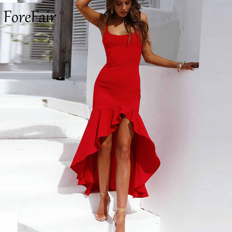 Forefair Spaghetti Strap Ruffle Party Dress Zomer Vrouwen Off De Schouder Fishtail Onregelmatige Backless Sexy Bodycon Jurk 2019