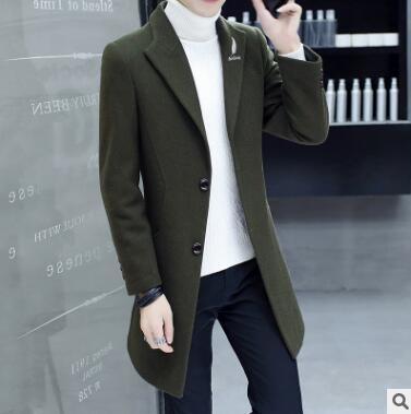 2018 осенние и зимние новые корейские мужские шерстяные пальто с длинным шерстяным замшевым пальто для slim Мужская ветровка XD 174