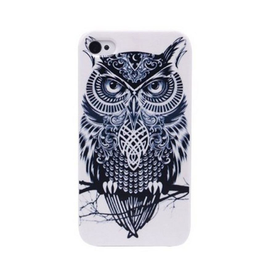 2017 Hot sale Black And White Cute Owl Retro Vintage Hard Back Cover Case For iphone IOS Mobile phone cases Wholesale