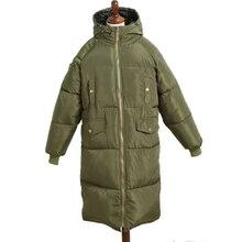 Большой Размеры Новинка года более Размеры Длинные куртки хлеб Костюмы теплые женские waddede сплошной куртка с толстой хлопковой подкладкой Для женщин верхняя одежда yp0422