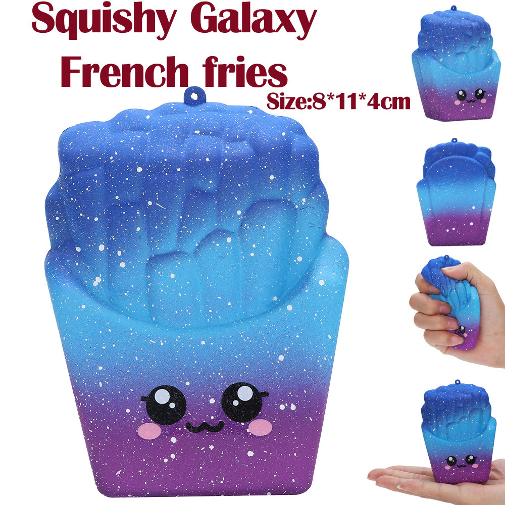 8cm Cute Squishy Toys Galaxy French Fries Scuishy Of Food Stress Reliever Squishies Slow Rising Toy For Kids Drop Shipping Durable In Use