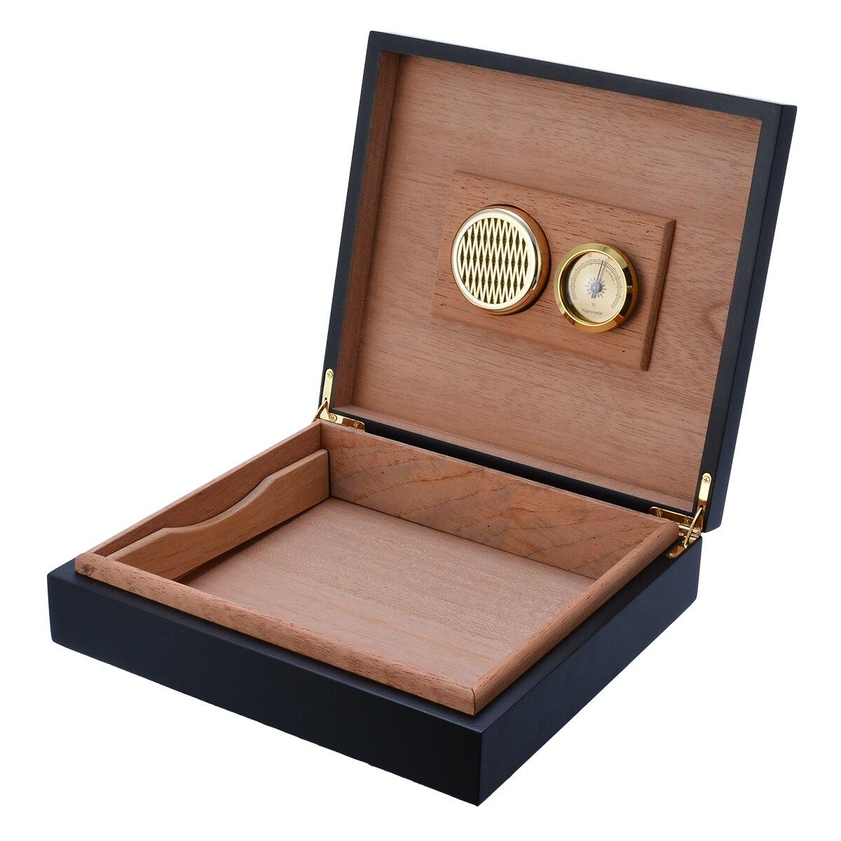 Boîtier de rangement à cigares noir étuis à cigares doublés de bois avec humidificateur à cigares hygromètre cèdre 235x215x63mm