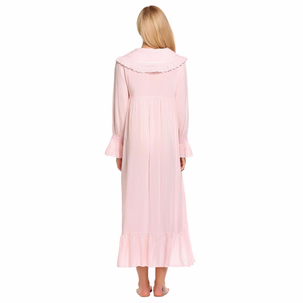 BLUETIME Victorian Style Vintage Women Nightgown Nightshirt Long Sleeve Home Nightdress Sleepwear Night Dress Clothes XXL A7