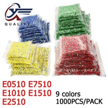 цена на 1000pcs/Pack E0510 E7510 E1010 E1510 E2510 Insulated Ferrules Terminal Block Cord End Wire Connector Electrical Crimp Terminator