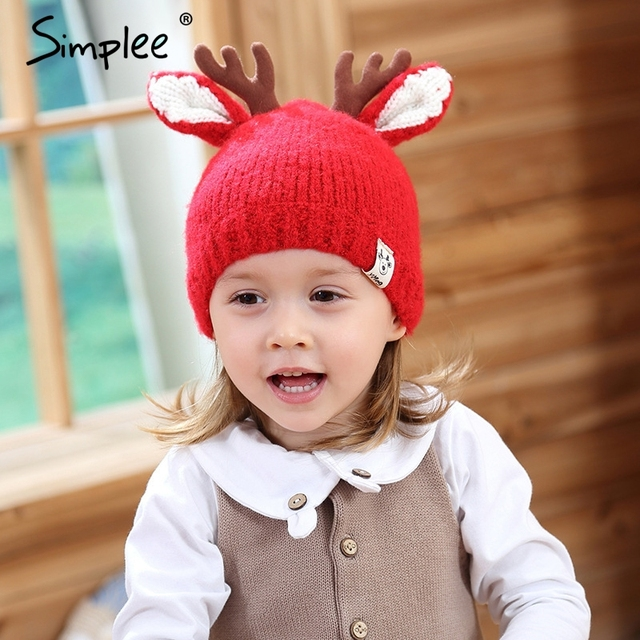 Christmas deer antlers design red baby hat Warm knitted kids caps for girls  Cure animal ears autumn winter hat for girls 2b29317d282