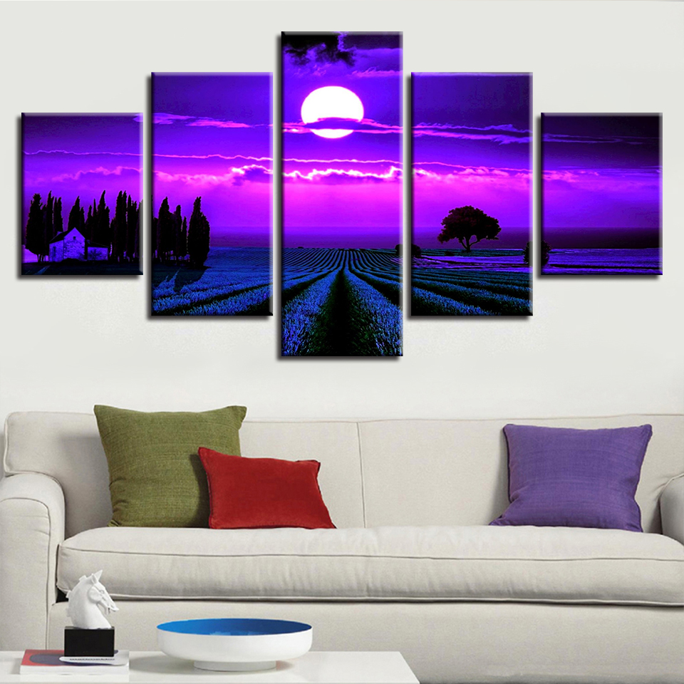 Canvas Painting Wall Art 5 Panel Purple Moon Lavender Field Landscape Poster Modular HD Prints Pictures Living Room Decor