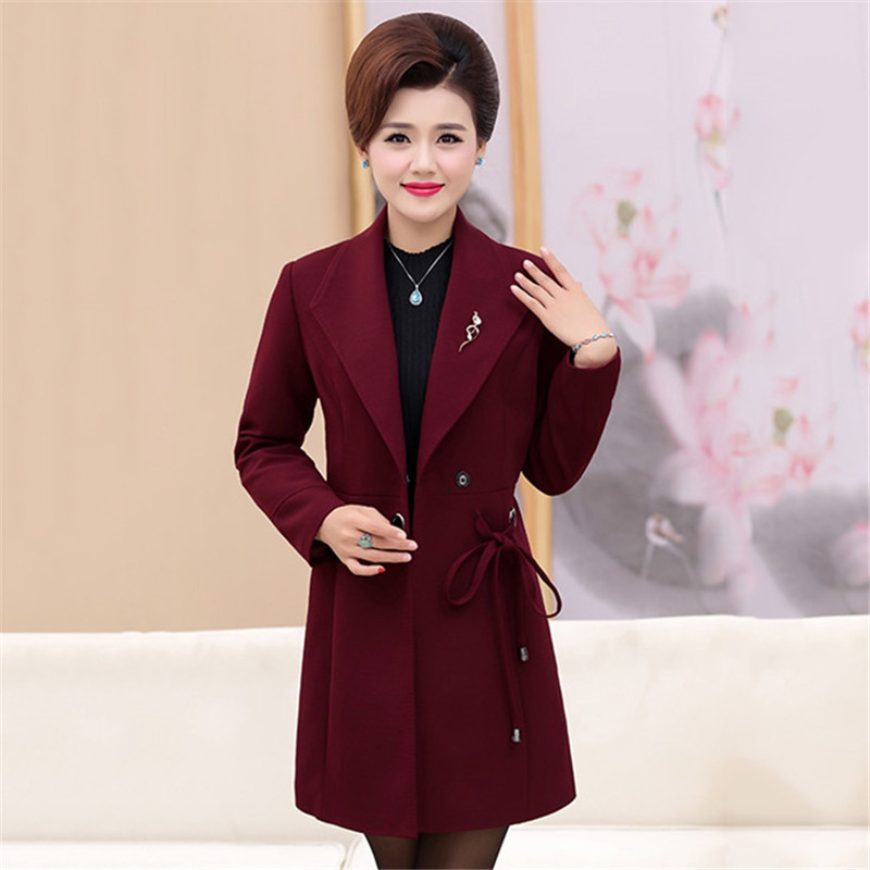 Autumn Women Outerwear 2018 New Temperament 40-50 Years Old Loose Female Windbreaker One Button Medium Long Ladies   Trench   Cw188