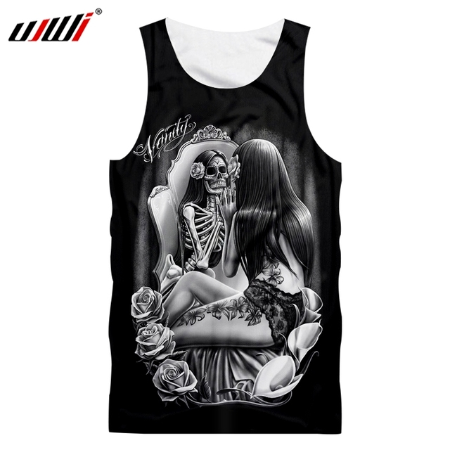 c103ede3835a0 UJWI Men s Tank Top Summer Beautiful skulls Casual Shorts 3D Printed  Handsome Personality Tank Top