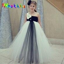 Black Beige Girls Flower Vestidos Flower Girl Tutu Dress Children Costume For Girls Fluffy Tutu Dress Girl Wedding Dress