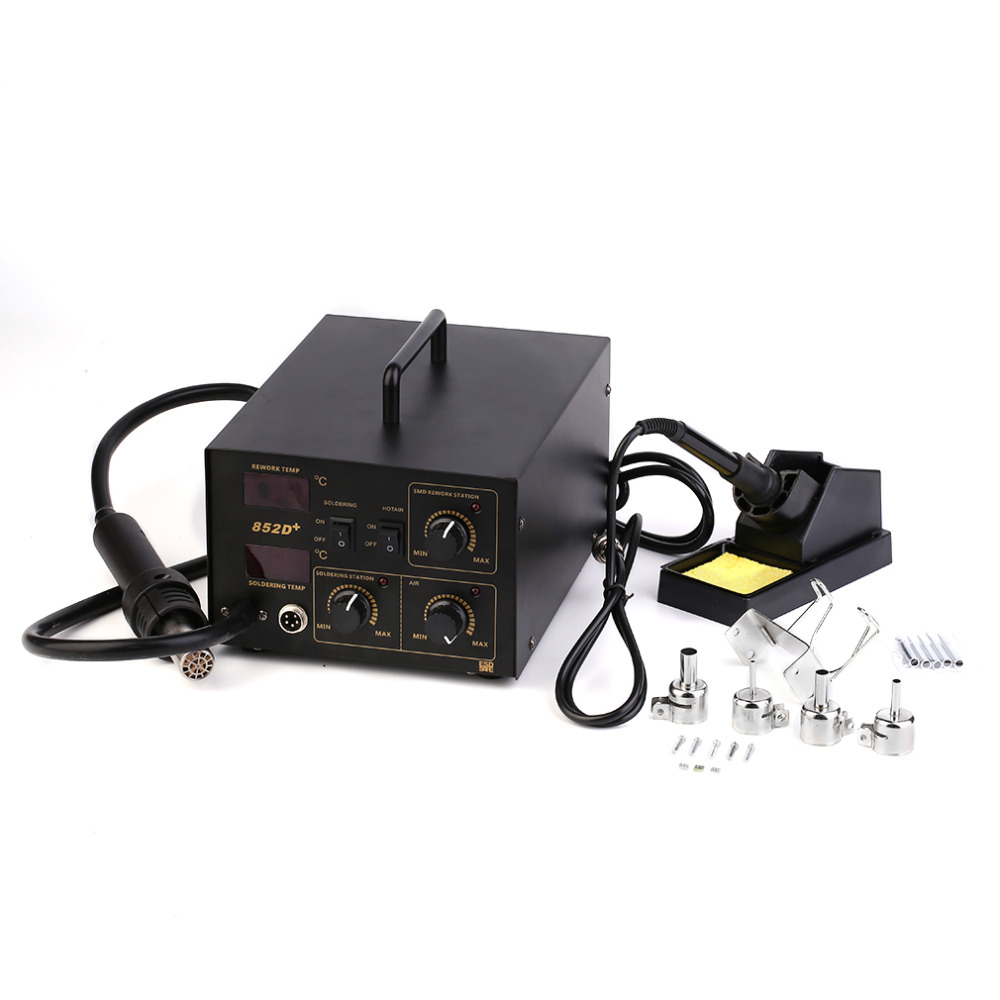 2 In 1 Soldering Rework Stations SMD Hot Air Iron Gun Desoldering Station Welding 852D+ With Quite Operation 110V Ship from USA 650w 110v or 220v yihua 858d hot air desoldering station with 45w soldering iron air gun soldering station