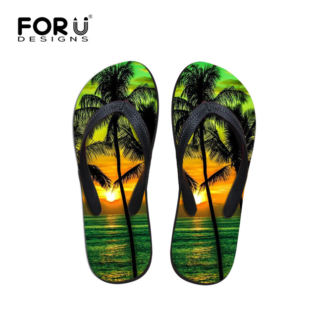 c457b90bd690 Women Flip Flops 3D Palm Tree Print Beach Anti Skid Sandals Flat Shoes  Outdoor Sandals Slipper