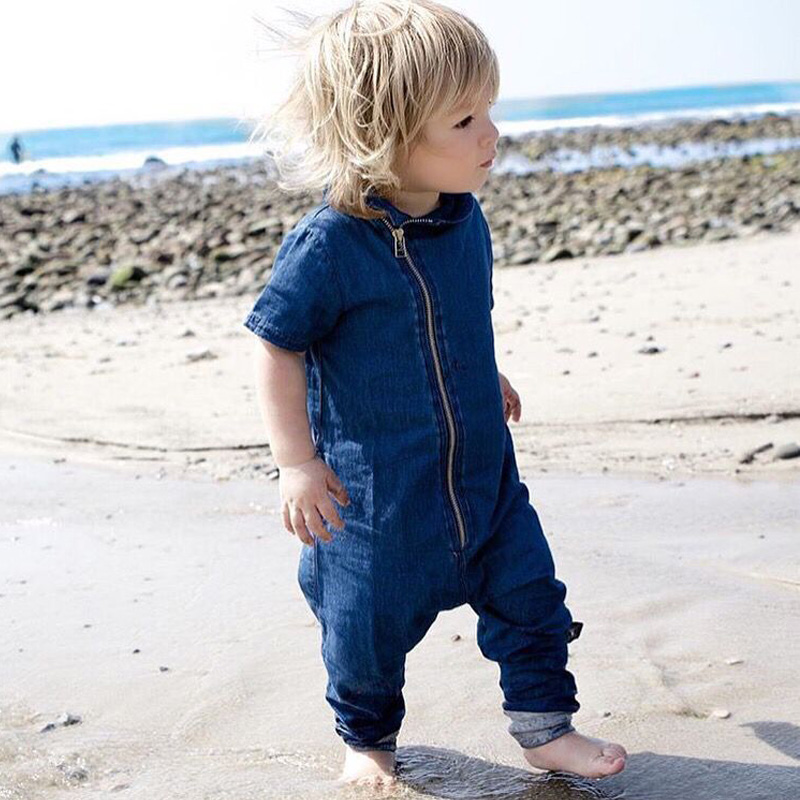 2017 New Fashion Newborn Toddler Baby Rompers Short Sleeve Jeans Jumpsuit Infant Clothing Baby Boy Girl Cotton Clothes One-piece luxury good quality new fashion women zipper jumpsuit slim fit skinny jeans rompers pocket denim jumpsuits size sexy girl casual