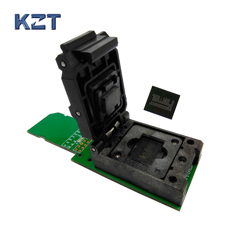 eMCP162/186 reader clamshell structure test socket with SD interface, for BGA162 /186 data recovery size 12x16mm pitch 0.5mmeMCP162/186 reader clamshell structure test socket with SD interface, for BGA162 /186 data recovery size 12x16mm pitch 0.5mm