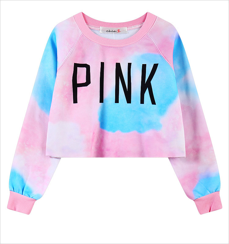 Spring Harajuku VS Love Pink Sweatshirts Crop Top women Long ...
